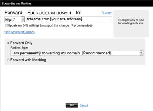 example of domain name forwarding with GoDaddy.com